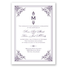 Vintage Fanfare - Plum - Invitation