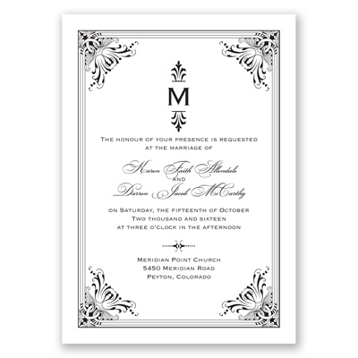 Vintage Fanfare - Black - Invitation
