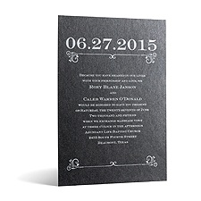Classical Date in Foil Print - Onyx Shimmer - Invitation