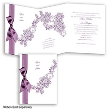 Lace Swirl - Wisteria - Invitation