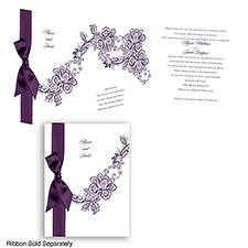 Lace Swirl - Plum - Invitation