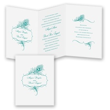 Peacock Monogram - Jade - Invitation
