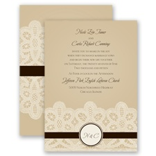Wrapped In Lace - Chocolate - Invitation