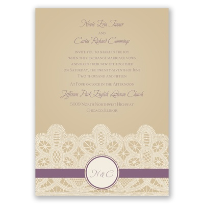 Wrapped In Lace - Wisteria - Invitation