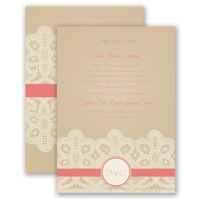 Wrapped In Lace - Coral Reef - Invitation