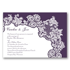 Lacy Delight - Plum - Invitation