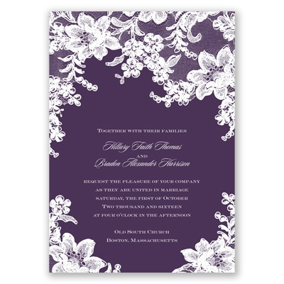 Lace Fantasy - Plum - Invitation