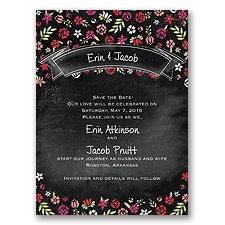 Floral Chalkboard - Poppy - Save the Date