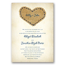 Burlap Heart - Marine - Invitation