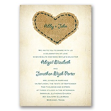 Burlap Heart - Gem - Invitation