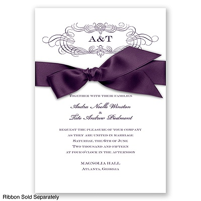 Down The Aisle - Plum - Invitation