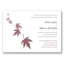 Falling Leaves - Rosewood - Invitation