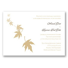Falling Leaves - Golden - Invitation
