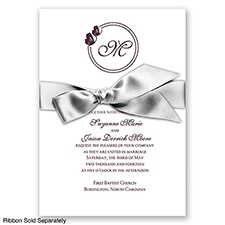 Circle Butterfly Monogram - Lapis - Invitation