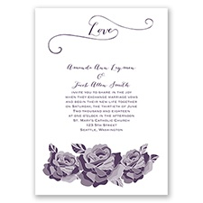 Love In Full Bloom - Plum - Invitation