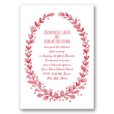 Pine Cone Wreath - Poppy - Invitation