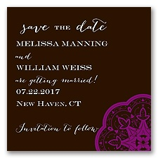 Indian Tile - Chocolate - Save the Date Magnet