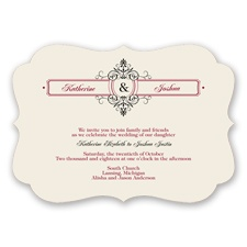 Graceful Monogram - Apple - Invitation