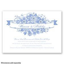 Floral Banner Burst - Bluebird - Invitation