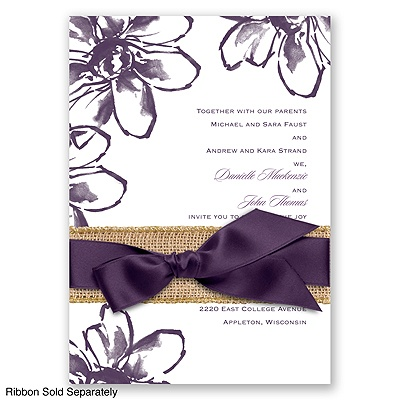 Plumeria Fantasy - Plum - Invitation