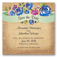 Floral Banner Burlap - Horizon - Save the Date Magnet