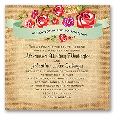 Floral Banner Burlap - Poppy - Invitation