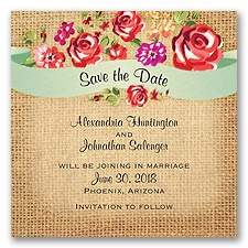 Floral Banner Burlap - Poppy - Save the Date Magnet