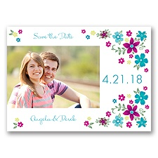 Freshly Floral - Malibu - Photo Save the Date Postcard