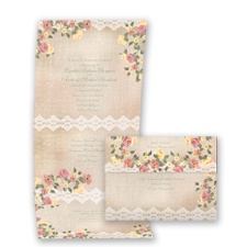 Roses & Lace Seal and Send -  Invitation