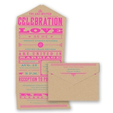 Bold Love - Neon Fuchsia - Seal and Send Invitation