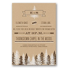 Rustic Forest - Chocolate - Invitation