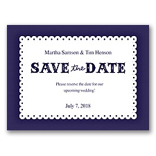Scalloped Lace - Lapis - Save the Date
