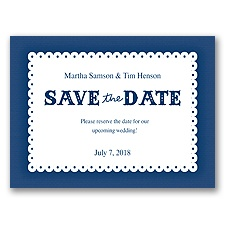 Scalloped Lace - Marine - Save the Date