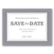 Scalloped Lace - Mercury - Save the Date