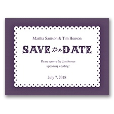 Scalloped Lace - Plum - Save the Date