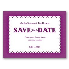 Scalloped Lace - Sangria - Save the Date