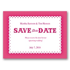Scalloped Lace - Watermelon - Save the Date