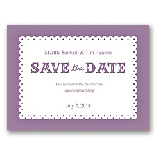 Scalloped Lace - Wisteria - Save the Date