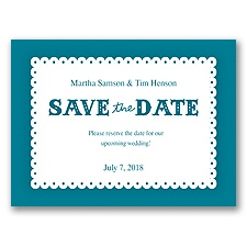 Scalloped Lace - Oasis - Save the Date