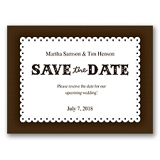 Scalloped Lace - Chocolate - Save the Date