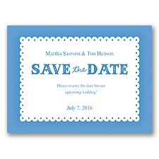 Scalloped Lace - Cornflower - Save the Date