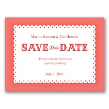 Scalloped Lace - Guava - Save the Date