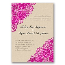 Diamond Lace Roses Glitter - Begonia - Invitation