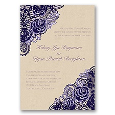 Diamond Lace Roses Glitter - Lapis - Invitation