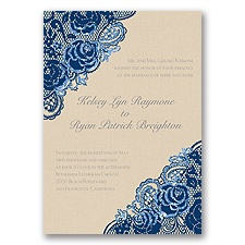 Diamond Lace Roses Glitter - Marine - Invitation