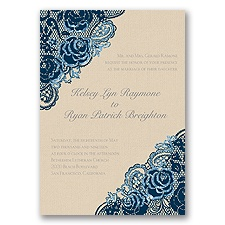 Diamond Lace Roses Glitter - Peacock - Invitation