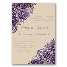 Diamond Lace Roses Glitter - Plum - Invitation