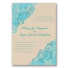 Diamond Lace Roses Glitter - Pool - Invitation