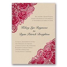 Diamond Lace Roses Glitter - Apple - Invitation