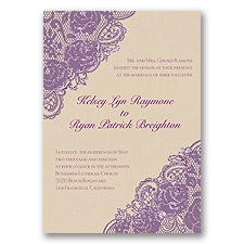 Diamond Lace Roses Glitter - Wisteria - Invitation